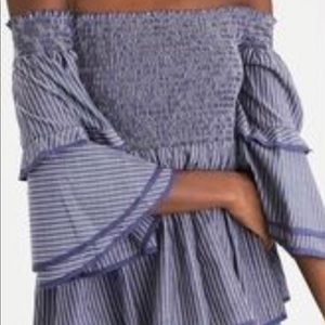 American Eagle Outfitters Blue Striped Blouse - M